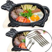 Bộ 2 Chảo Gang Bò Né Kèm 2 Đế Gỗ ( Loại Dày HVNCLC) được thiết kế kiểu dáng hình bò có tay cầm với khả năng làm nóng nhanh, giữ nhiệt tốt, giúp chế biến món trứng ốp la, bò bít tết nhanh chóng và thơm ngon hơn. Bộ còn bao gồm 2 Dao và 2 Nĩa Inox Chống Gỉ Loại Cao Cấp Sáng Bóng Là Phụ kiện không thể thiếu trên bàn ăn vào các buổi tiệc gia đình , các bữa ăn , party có món Tây , Âu . Hoặc dùng món ăn bò né truyền thống. Chỉ có tại HeroShop !